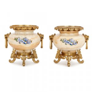 Pair of ormolu, enamel and onyx vases by H. Journet & Cie