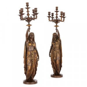 Pair of gilt and patinated bronze candelabra by Barbedienne
