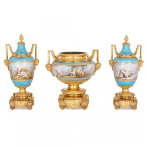 Sèvres porcelain vase garniture with ormolu mounts by Picard