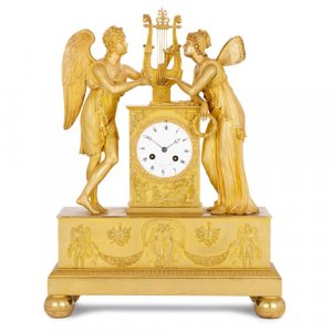 French Empire period ormolu mantel clock by Le Roy et fils