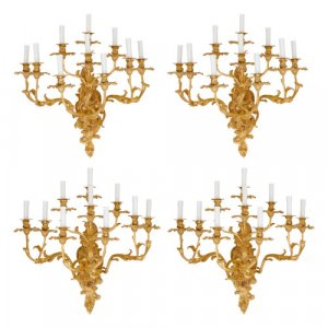 Set of four antique Louis XV style ormolu wall lights