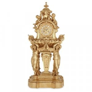 Large French Napoleon III period ormolu mantel clock
