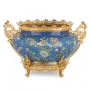 Chinese cloisonné enamel jardinière with French ormolu mounts