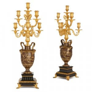 Pair of marble, gilt and patinated bronze candelabra by Barbedienne