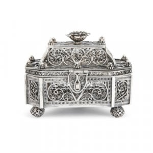 Antique Russian Jewish silver filigree besamim box