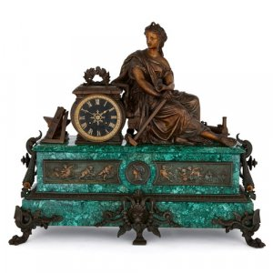 19th Century malachite, gilt and patinated spelter mantel clock