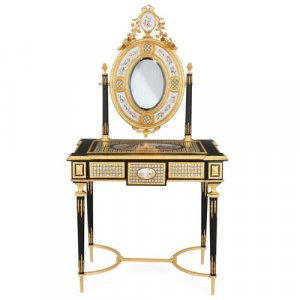 Ormolu and porcelain mounted ebonised wood dressing table