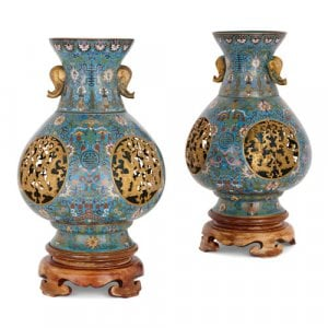 Pair of antique Chinese cloisonné enamel reticulated vases