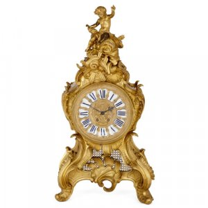 Monumental antique gilt bronze clock in the Rococo style