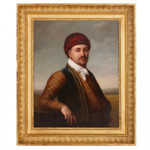 French oil on canvas portrait painting in giltwood frame