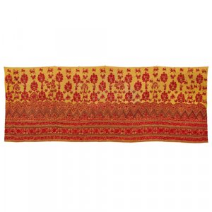 Indian yellow and cerise embroidered skirt band