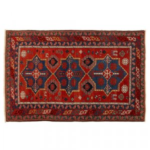 19th Century Shirvan red and blue wool carpet