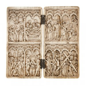 Antique carved ivory diptych with Christian subject