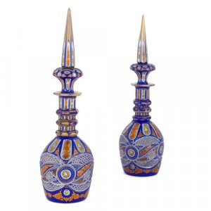 Pair of Bohemian blue flash overlay cut-glass decanters