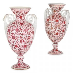 Pair of floral painted porcelain vases