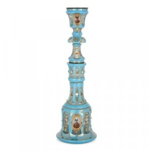 Bohemian enamelled and gilt blue overlay glass huqqa pipe