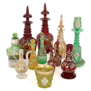 Collection of antique Bohemian glass objects