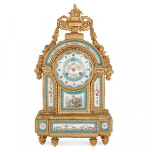 Antique ormolu and Sèvres style porcelain mantel clock