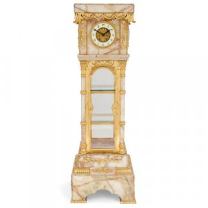 Ormolu mounted white onyx pedestal clock