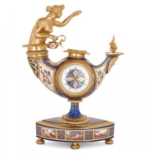 Viennese silver-gilt and enamel clock by Ludwig Politzer