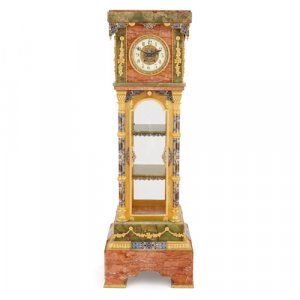 French marble, onyx, enamel and ormolu pedestal vitrine clock