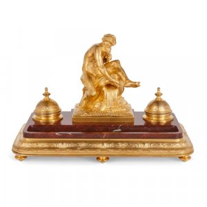 Ormolu and marble inkstand by Barbedienne