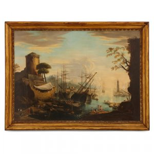 Antique oil painting of a seaport scene after Salvator Rosa