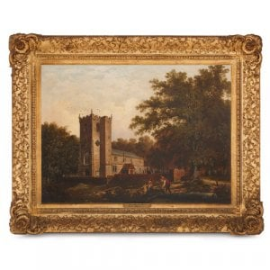 Antique English oil painting of church in giltwood frame
