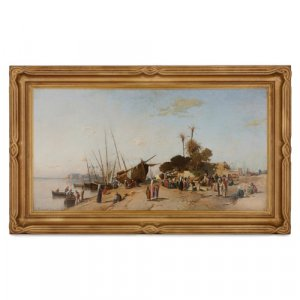 Large Orientalist oil painting of Cairo port by Corrodi