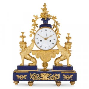 Empire period ormolu and lapis lazuli mantel clock