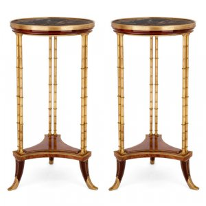 Pair of Louis XVI style ormolu, mahogany and marble guéridons