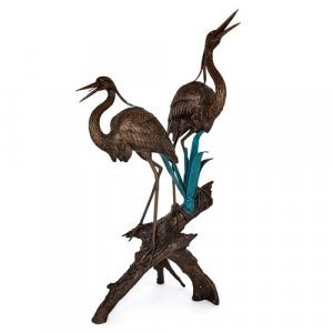 Large patinated and painted bronze heron bird fountain