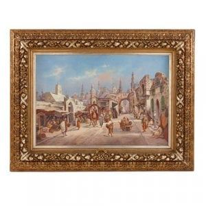 Large Orientalist painting of a busy street by Haddon