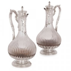 Pair of silver and crystal jugs, retailed by Boin-Taburet