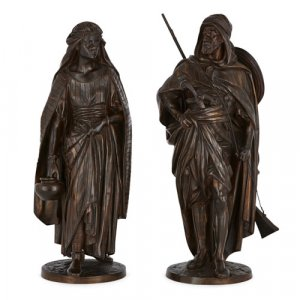 Pair of Orientalist patinated bronze figures by Salmson