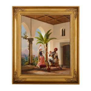 Orientalist painting of a family by Simonsen