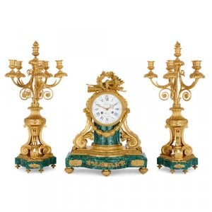 Ormolu and malachite three-piece clock set by Lépine