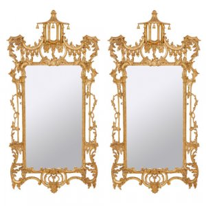 Pair of Chinoiserie Chippendale style giltwood mirrors