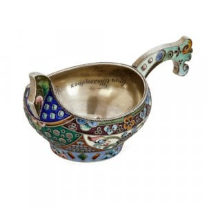 Cloisonné enamelled silver kovsch by 26th Artel