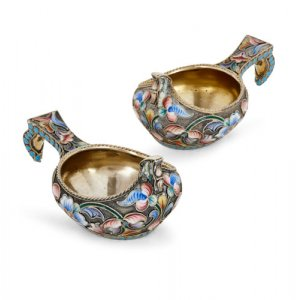 Pair of antique cloisonné enamel Kovsches by Maria Semenova