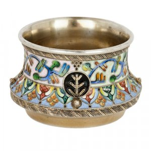 Russian cloisonné enamel and silver Salt by 6th Artel
