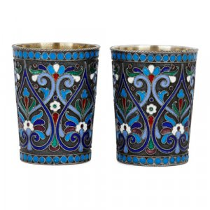 Pair of antique Russian silver and cloisonné enamel beakers