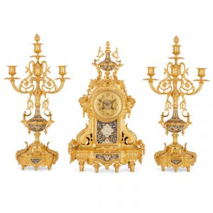 Ormolu and cloisonné enamel three-piece clock set