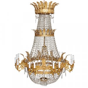 Empire style ormolu and cut glass eighteen light chandelier