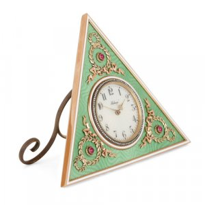 Fabergé style gold, enamel, and precious stone table clock
