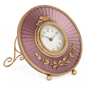 Fabergé style gold, enamel, and pearl table clock