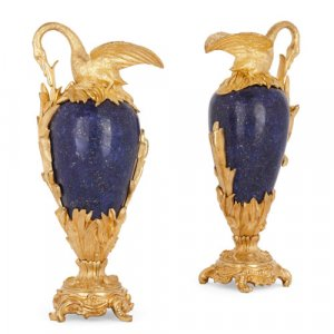 Pair of ormolu mounted lapis lazuli ewer-form vases