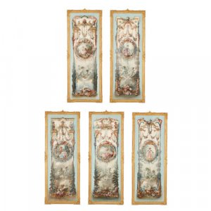 Set of five Rococo style paintings in the manner of Fragonard