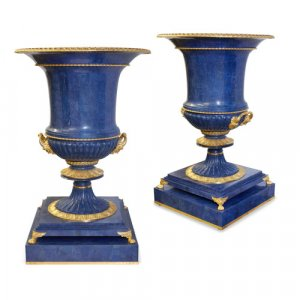 Pair of monumental krater-form lapis lazuli vases