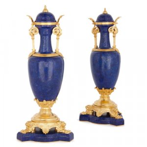Pair of ormolu mounted lapis lazuli vases by Barbedienne